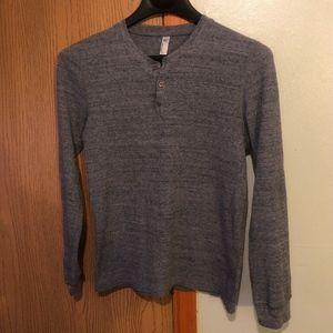 American Apparel Medium Gray Long Sleeve Henley